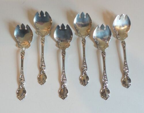 "SET/6 VINTAGE WALLACE ""VIOLET"" STERLING SILVER ICE CREAM FORKS, 105 grams"