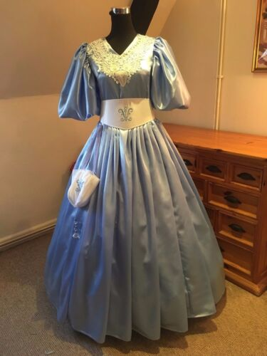 Edwardian/Victorian 19th Century Ball Gown Custom made in Sky Blue PLEASE READ!
