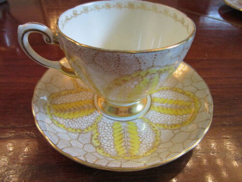 Tuscan England fine china  tea cup/ saucer, yellow and gold, [*114]