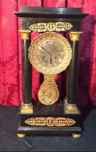 ANTIQUE FRENCH EMPIRE BLACK SLATE OR MARBLE BRONZE MOUNTED PORTICO CLOCK