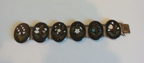 "19th C. ANTIQUE ESTATE ITALIAN PIETRA DURA MOSAIC FLORAL 7"" BRACELET, 50 grams"