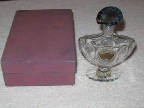 Vintage Guerlain Shalimar Baccarat Glass Perfume Bottle/Stopper & Box 3 OZ - 6""