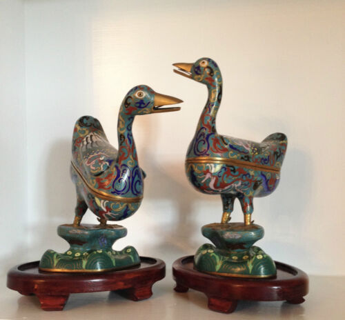 Pair Large Vintage Chinese Cloisonne Ducks Statues Figures  ~Vintage Stands~