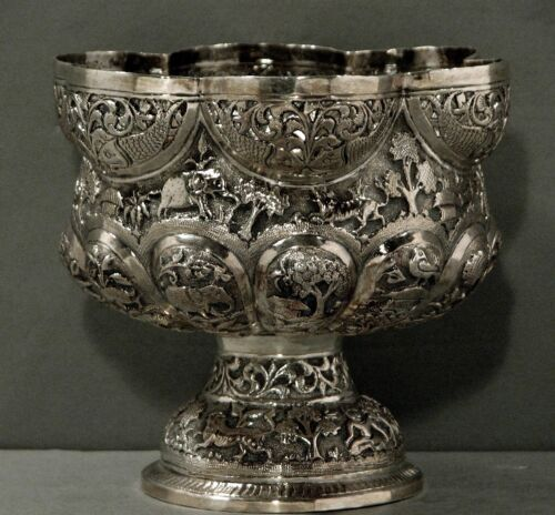 Indian Silver Bowl     c1890  Lucknow          VILLAGE & HUNTING SCENES