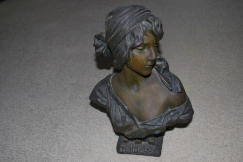 "RARE 1900's FRENCH SIGNED EMMANUEL VILLANIS PATINATED BRONZE 16"" BUST CENDRILLON"