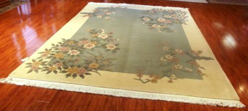 HAND WOVEN SCULPTED CHINESE RUG 9x12 100% WOOL PILE PRE-OWNED