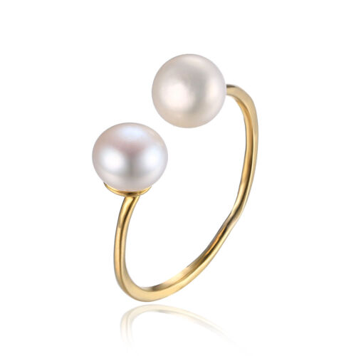Unique Natural Fresh Water Pearl Ring 925 Sterling Silver 18k Gold Plated