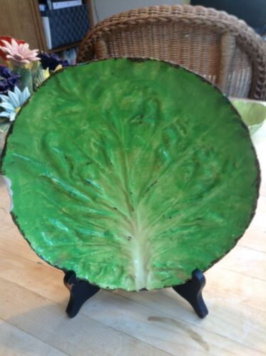 """Antique Italian Majolica Letttuce Leaf Plate """"M"""" Six Pointed Crown Napoli Chips"""