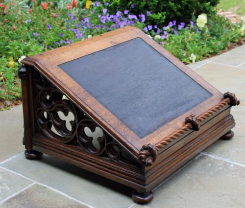 Antique French GOTHIC Carved Oak Large Bible Book Stand Book Holder Pegged