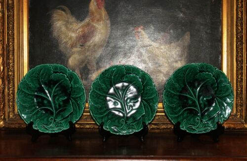 """Antique English Set of 3 Green Minton Majolica 9"""" Vine and Leaf Plates 19th C."""
