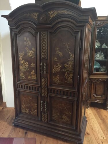 Karges Bar Cabinet - Chinese Decorated Over Circassian Walnut Veneer.
