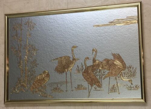 Late Deco Reverse Painted Mirror w/Gold Sandhill Cranes Gold Frame~Estate~36x23