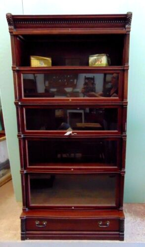 Antique Mahogany Globe Wernicke Ideal Bookcase Unit 5 Stack With Drawer Base