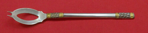 """Aegean Weave Gold by Wallace Sterling Silver Olive Spoon Ideal 6 3/8"""" Custom"""