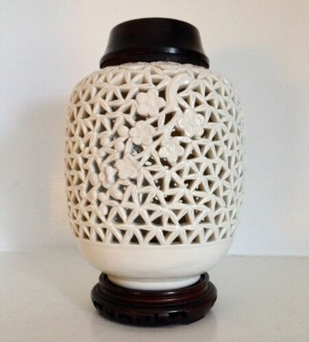 Old Chinese Pierced Blanc de Chine Porcelain Ginger Jar ~Marked ~Wood Lid Stand