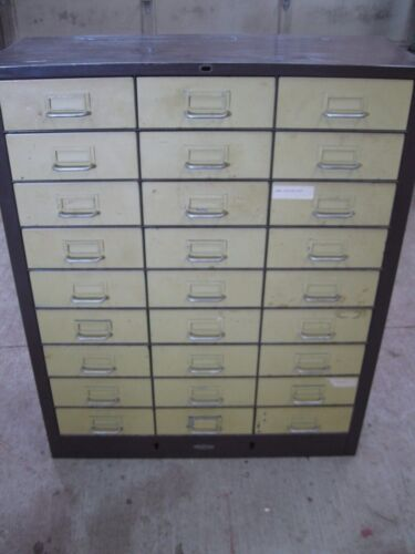 Industrial Vintage COLE-STEEL Metal File Parts Bin Cabinet 27 Drawers Steampunk