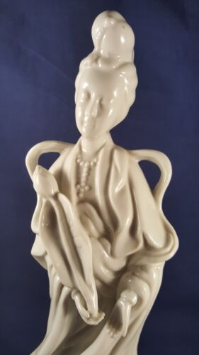 Homco White Porcelain Kwan Yin Blanc De Chine Statue The Goddess of Mercy