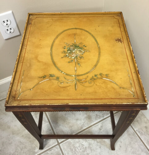 Antique Petite Wood Hand Painted Floral Side Table French Country Shabby Chic