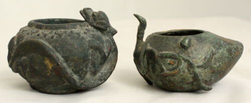 Two Antique Chinese Scholar's Desk Bronze Water Pot Dropper Qilin Dragon