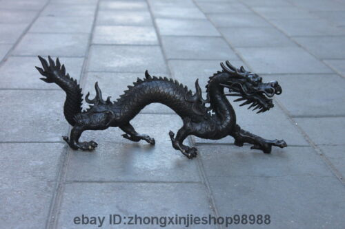 Chinese Royal Pure Bronze Copper Attract Wealth Fly Dragon Palace Statue