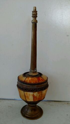 "Antique Beautiful Gulabdani? Bone and Brass 8"" Tall Rose or Holy Water Sprinkler"