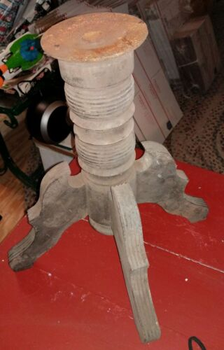 Antique Wood & Cast Iron Base Table Chair Industrial Legs Repurpose
