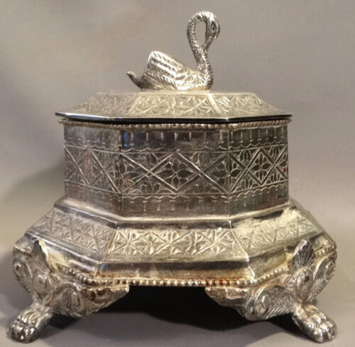Antique EDWARDIAN SILVER Plate SWAN Figural CLAW FOOT Old SUGAR BOWL Covered BOX