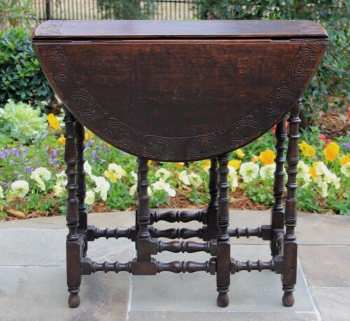 Antique English Oak Drop Leaf PETITE Oval Gate Leg Table CARVED TOP Turned Legs