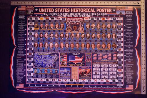 US Historical Presidents States Flag Currency Capitals History Poster 24X36 PRES