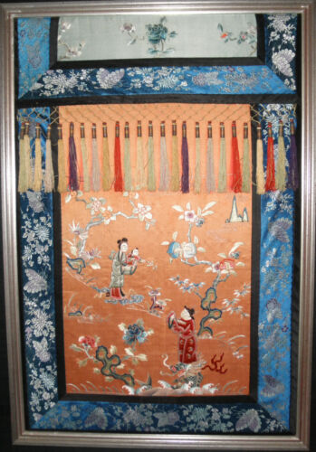 Antique Chinese  embroidery silk 19th century textile framed