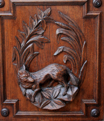 Antique French Oak Black Forest FOX Architectural Wall Panel Door Salvage 1880's
