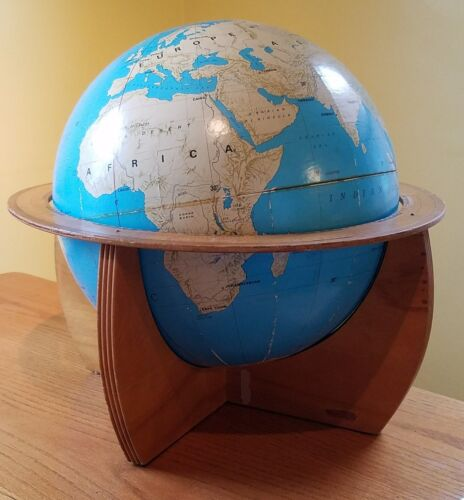 "Vintage Rand McNally 16"" Inch Table Globe with Wood Stand RandMark I"