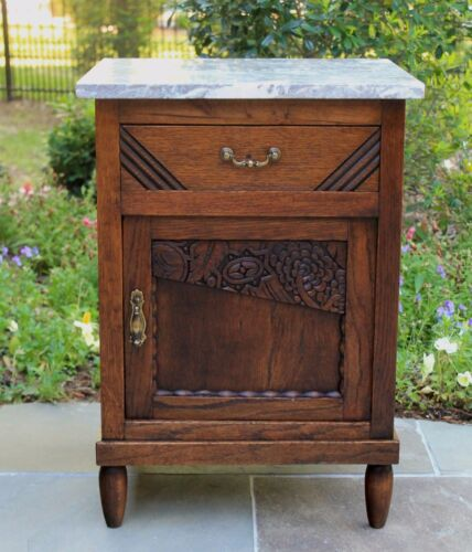 Antique French Oak Marble Top ART DECO Side Cabinet Nightstand End Table