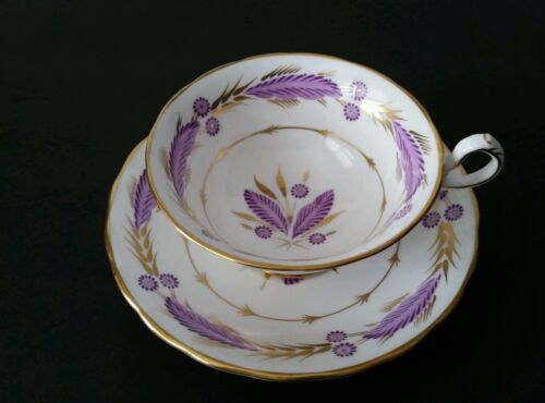 Royal Chelsea Gold Gilt Tea Cup & Saucer Purple Made in England Bone China