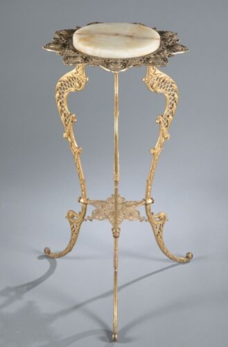 Brass and onyx plant stand. c.1900 Lot 72