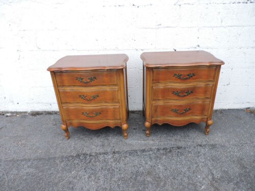 Pair of French Tall Cherry Nightstands End Side Tables by Vanleigh  8360
