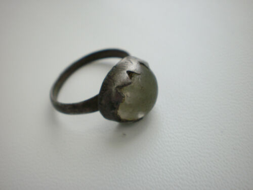 Rare Antique Medieval White Stone Silver RING 16 - 17 century AD