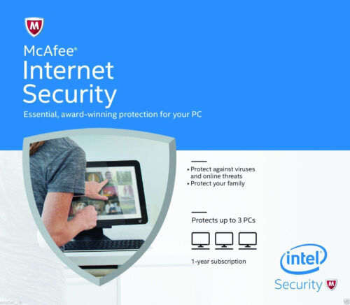 McAfee Internet Security 2016/2017 Anti Virus Software 1 Year Licence 3 Users/PC