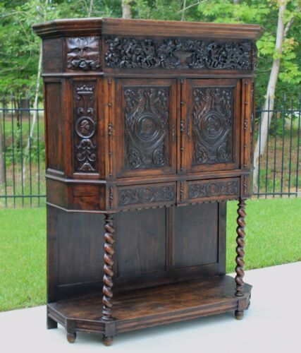Antique French BARLEY TWIST Vestry Wine Liquor Bar Cabinet GOTHIC Bookcase