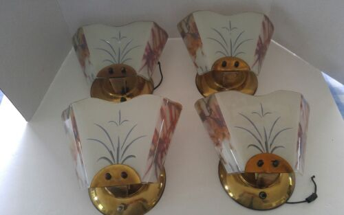 Super Vintage 4 Very Art Deco Sconces All Brass and glass EUC