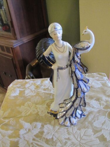 """Excellent KPM Art Deco Gold gilt lady with Peacock 12 1/2"""" tall"""