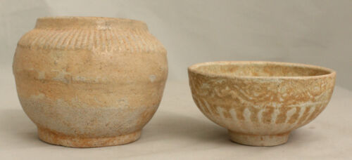 Two Chinese Song to Yuan Dynasty Early Ceramic Glazed Jarlets Jars Cup