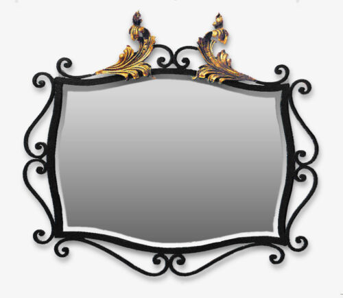 Art Deco Wrought Iron Mirror w/ Gilded Bronze Accents + Beveled Glass • French