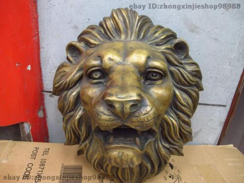 Chinese Cloisonne Bronze Carved Foo Dog Lion King Head Mask Wall hanging Statue
