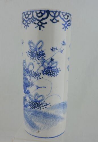 ANTIQUE CHINESE ASIAN PORCELAIN BLUE WHITE CYLINDER FLOWER VASE W/LOTUS & INSECT