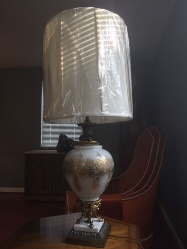 Antique Vintage Marble And Brass Lamp