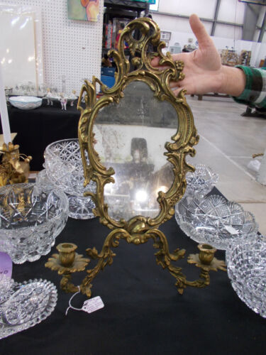 Antique French Bronze Double Sconce Mirror