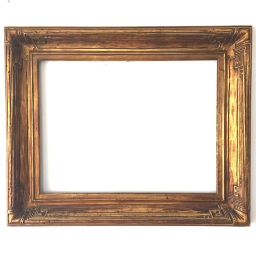 Antique c.1900 Newcomb Macklin Arts and Crafts carved corner Picture Frame 18x24