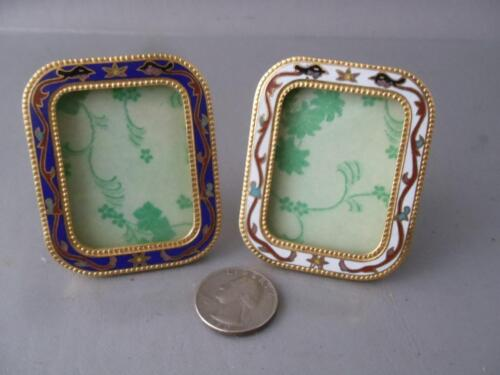 VINTAGE TINY GOLD BRASS ENAMELED FLOWERS MINIATURE PICTURE FRAME PAIR w GLASS