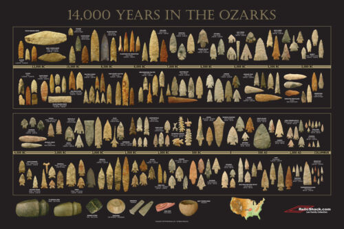 "Arrowhead Timeline Poster - ""14,000 Years in the Ozarks"" - Indian Artifacts"
